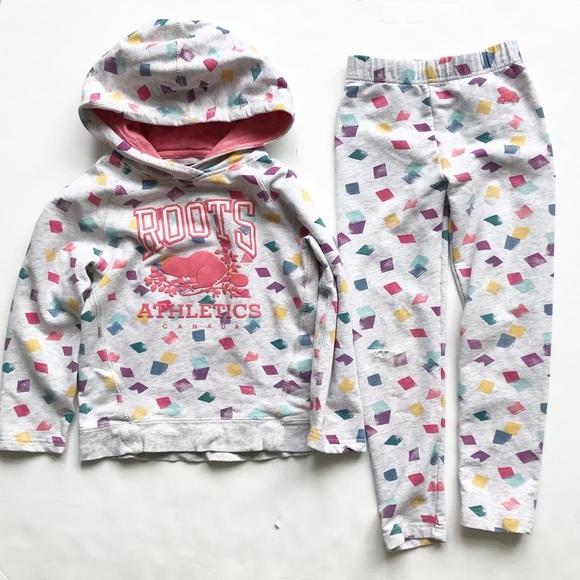 Roots kids  EUC hoodie/ play - legging set 5T